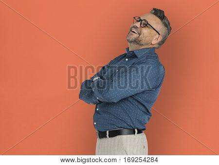 Caucasian Man Folding Arms Smiling