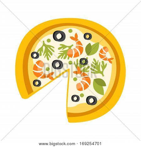 Pizza With Shrimps Missing One Slice Primitive Cartoon Icon, Part Of Pizza Cafe Series Of Clipart Illustrations. Vector Simplified Clip-Art Drawing Element.