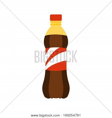 Plastic Bottle With Sweet Soda Drink Primitive Cartoon Icon, Part Of Pizza Cafe Series Of Clipart Illustrations. Vector Simplified Clip-Art Drawing Element.