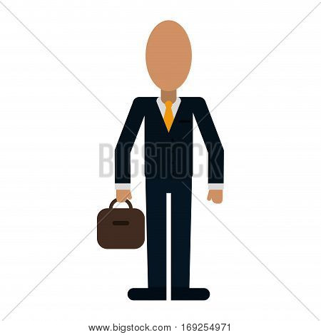business man suit necktie and portfolio vector illustration eps 10