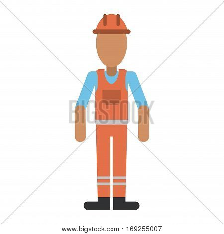man with helmet uniform work professional contractor vector illustration eps 10