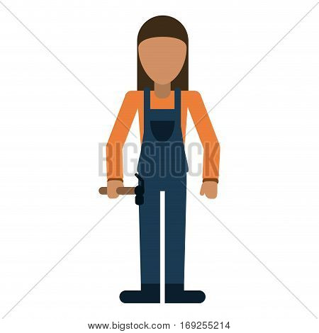 worker woman carpentry hammer helmet vector illustration eps 10