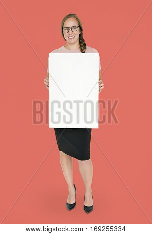 Caucasian Lady Holding Blank Paper Smiling