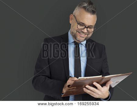 Caucasian Business Man Happy