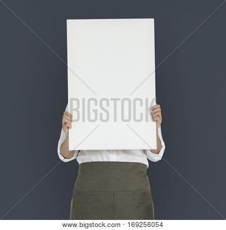 Woman Holding Banner Copy Space Portrait Concept