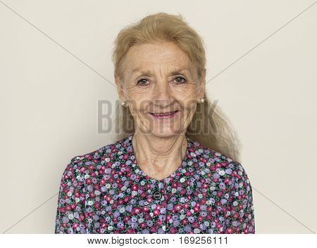 Mature Lady Smiling Studio Concept