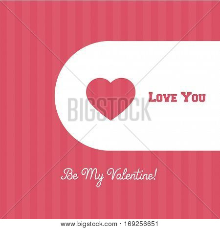 Valentines Day cute banner or background with simple pink and white design