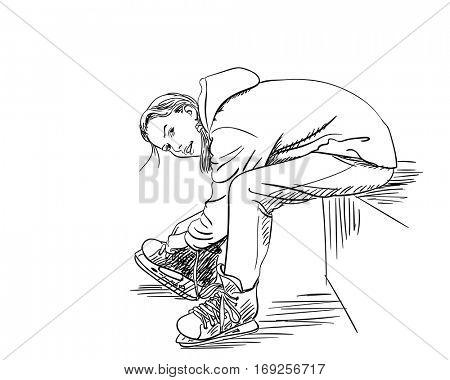 Girl puting on skates, Hand drawn illustration, Vector sketch