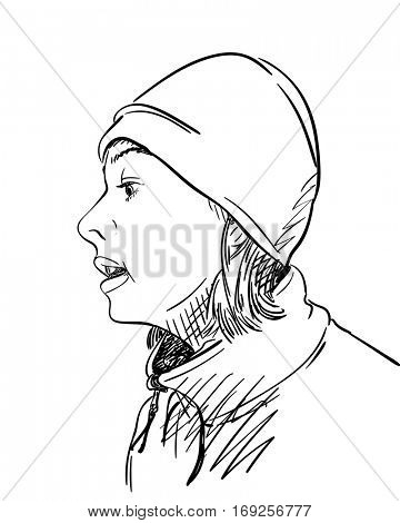 Woman with short hair in sweater and hat talking with someone, Hand drawn illustration, Vector sketch