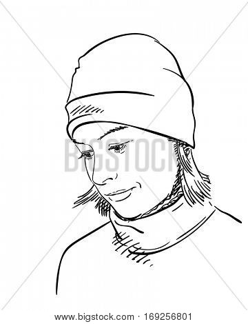Woman with short hair in sweater and hat looking down, Hand drawn illustration, Vector sketch