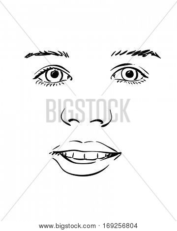 Face of excited young girl, Vector sketch Hand drawn illustration