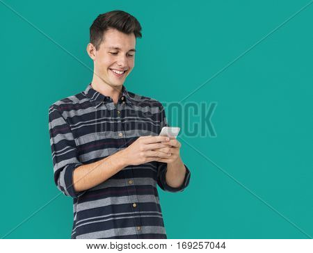 Young Man Using Phone Smile Happy