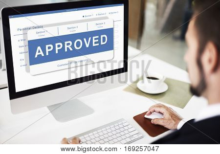 Approved Entry Pending Waiting Reject Concept
