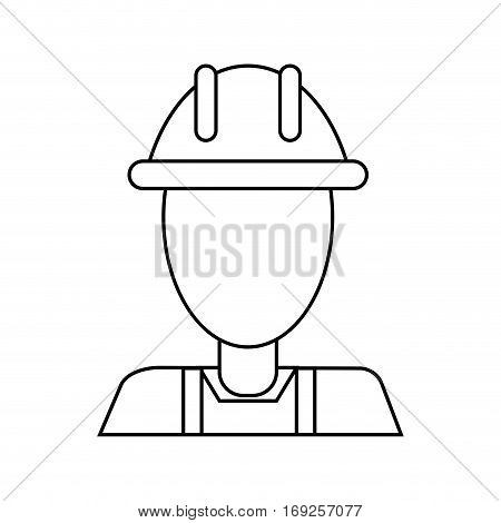 avatar construction man overalls clipboard thin line vector illustration eps 10