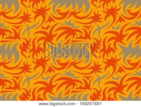 Abstract seamless thorny organic pattern. grey, orange and red. vector illustration
