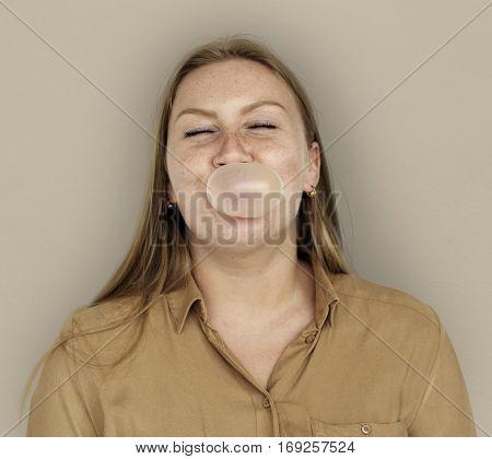 Caucasian Woman Bubble Gum