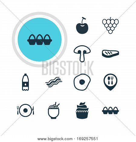 Vector Illustration Of 12 Cuisine Icons. Editable Pack Of Fungus, Serving, Muscat And Other Elements.