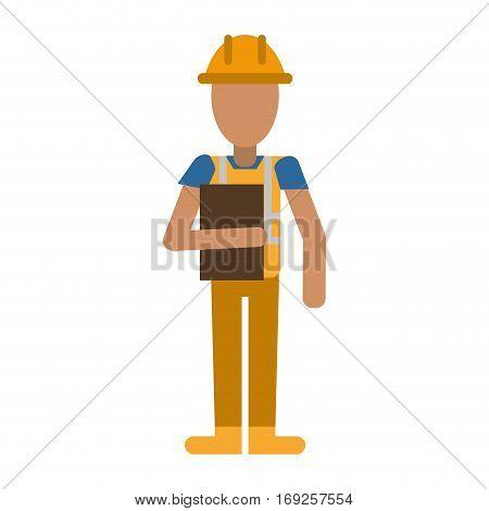 avatar construction man overalls clipboard vector illustration eps 10
