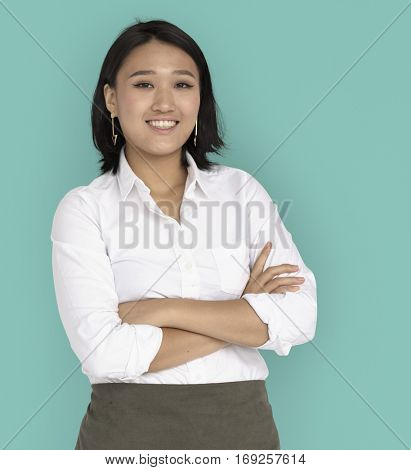 Young Asian Business Woman Confident Smiling