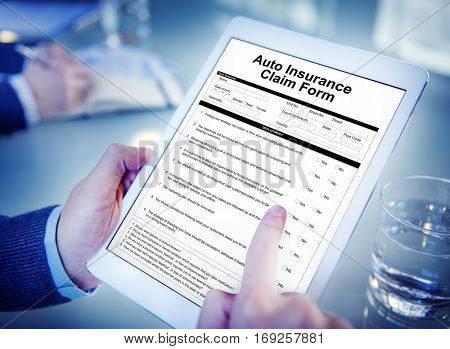 Auto Insurance Claim Form Document Indemnity Concept