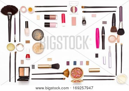 Cosmetic Makeup Brush, Nail Polish, Powder, Mascara, And Other Accessories On A White Background.