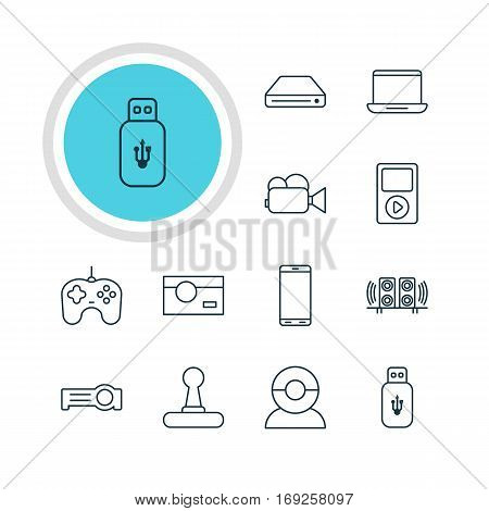 Vector Illustration Of 12 Accessory Icons. Editable Pack Of Memory Storage, Computer, Joypad And Other Elements.