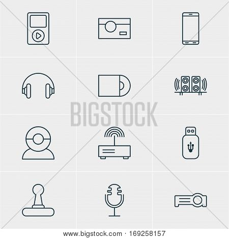 Vector Illustration Of 12 Hardware Icons. Editable Pack Of Loudspeaker, Modem, Headset And Other Elements.