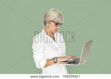 Caucasian Business Woman Laptop Unhappy