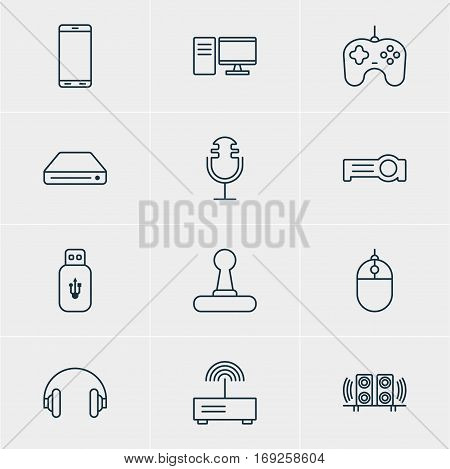 Vector Illustration Of 12 Technology Icons. Editable Pack Of Memory Storage, Modem, Joypad And Other Elements.