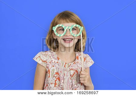 Cheerful Little Girl Happy Smiling Studio Concept