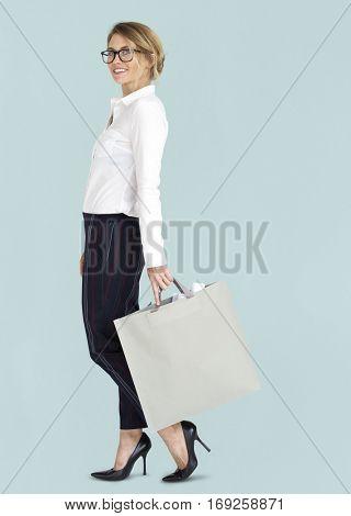 Businesswoman Design Blueprint Bag Portrait Concept