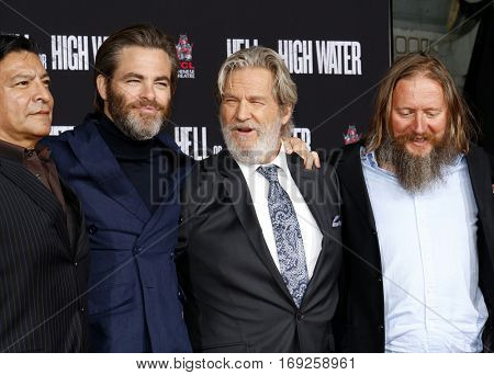 Gil Birmingham, Chris Pine, Jeff Bridges and David Mackenzie at Jeff Bridges Hand And Footprint Ceremony held at the TCL Chinese Theatre IMAX in Hollywood, USA on January 6, 2017.