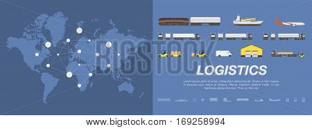 Set transport for transportation of goods. Land transportation air and sea freight. Logistic concept flat vector illustration for business on a world map background.