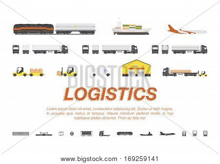 Set transport for transportation of goods. Land transportation air and sea freight. Logistic concept flat vector illustration for business.