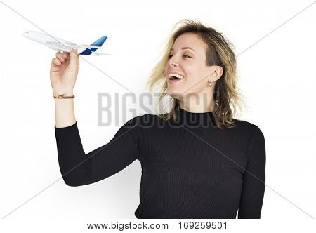 Isolated Woman Portrait Airplane
