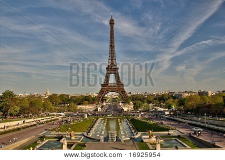 Eiffel Tower Viewed Form Trocadero In Paris France With Cherries And Blue Sky
