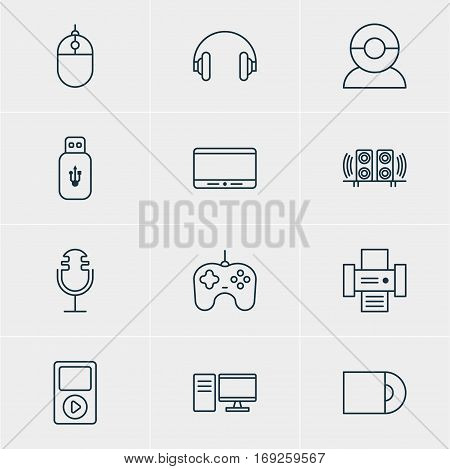 Vector Illustration Of 12 Accessory Icons. Editable Pack Of Usb Card, Joypad, Cursor Controller And Other Elements.
