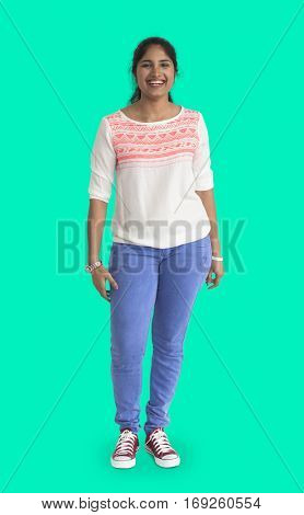 Casual Indian Woman Isolated Portrait Concept