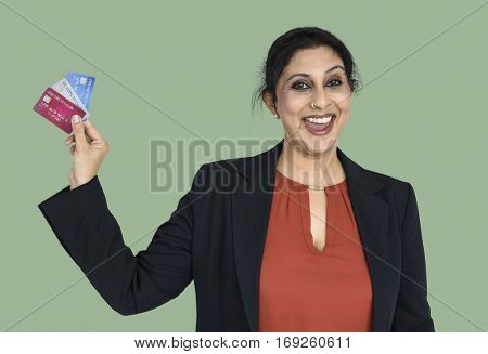 Indian Woman Credit Cards Smiling
