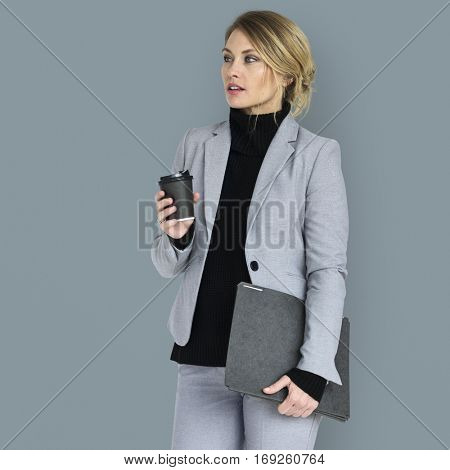 Caucasian Business Woman Coffee Documents Concept