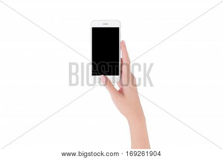 woman hand holding white smart phone with blank space of screen display smart phone and mockup concept Isolated on white background