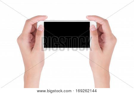 Woman hands holding white smart phone with blank space on screen display digital and communication concept Isolated on white background.
