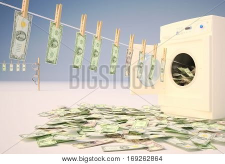 Money Laundering Currency Clothesline Washing machine Handcuffs. 3D illustration