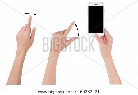 Woman hands holding smart phone with blank screen display Collection of index finger and pinch fingers for touch or zoom digital and communication concept Isolated on white background