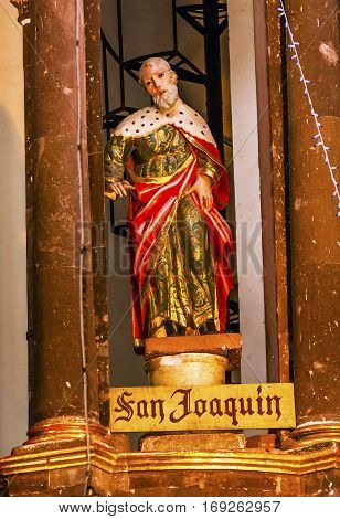 SAN MIGUEL DE ALLENDE, MEXICO - DECEMBER 28, 2014 Saint Joaquin Saint Joachim Statue Mary's Father Jesus Grandfather Convent Immaculate Conception The Nuns San Miguel de Allende Mexico. Convent of Immaculate Conception was created in 1754.