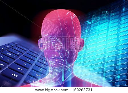Double Exposure Image Of Virtual Human 3Dillustration