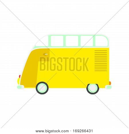 Colorful cartoon travel bus. Surfing retro buses in different colors. Set of recolored traveler coach camper flat style icons isolated on white. Family summer bus in classic colors, vector.
