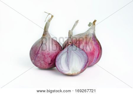 Shallots, Onions, Isolated On White Background