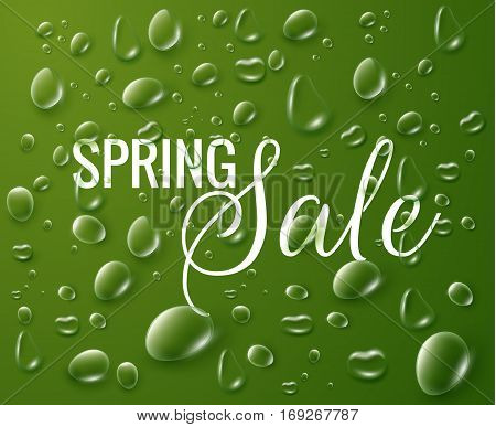 Spring sale fresh background with raindrops. Vector EPS10.