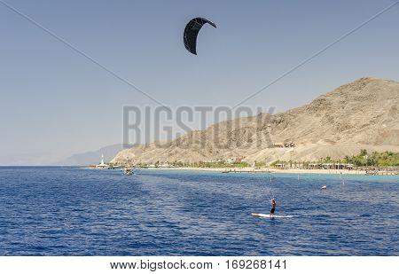 Kite surfing at the Red Sea near Eilat, Israel